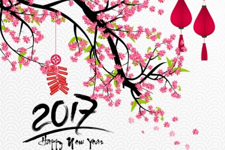 Happy new year 2017 with flowers and chinese new year